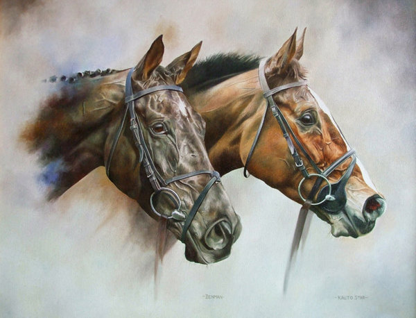 Gold Cup Duo - Kauto Star & Denman by Joanna Stribbling
