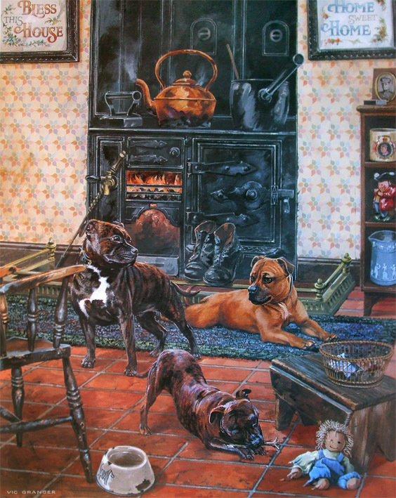 Home Sweet Home - Staffordshire Bull Terrier by Vic Granger