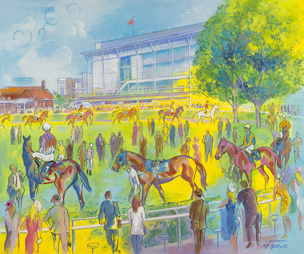 Original Painting - Rowley Mile Newmarket Colours by Terence Gilbert