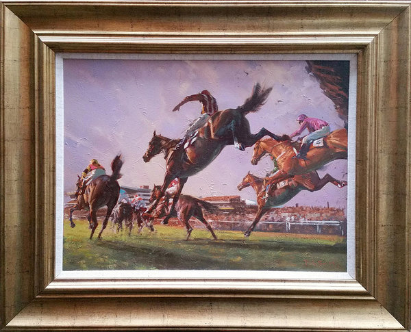 Original Painting - Flying Chasers I - Cheltenham by Peter Smith