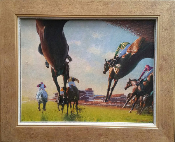 Original Painting - Flying Chasers II - Cheltenham by Peter Smith