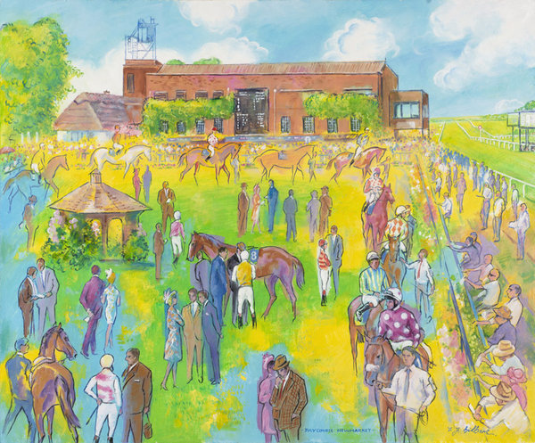 Original Painting - July Course Newmarket Colours by Terence Gilbert